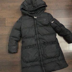 DKNY girls long puffer down filled black jacket